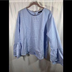 NEW $59 Nordstrom Halogen Blue White Blouse Small